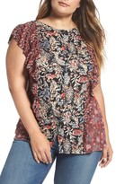 Lucky Brand Plus Size Women's Mixed Print Ruffle Top