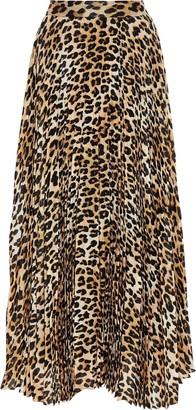 Alice + Olivia Katz Pleated Leopard-print Silk-blend Chiffon Maxi Skirt