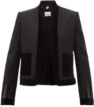 Burberry Velvet-trimmed Wool Jacket - Womens - Black