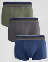 Asos Hipsters With Khaki Stripe Textured Waistband 3 Pack Save