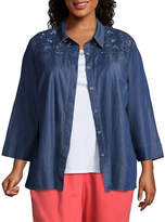Alfred Dunner Sun City Cut Out Layered Blouse- Plus