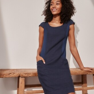 The White Company Linen Rib Trim Dress, Navy, 6