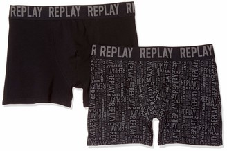 Replay Men's Cuff Logo + All Over Boxer Shorts
