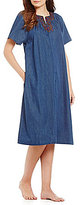 Go Softly Go Soflty Scroll-Embroidered Denim Zip Patio Dress