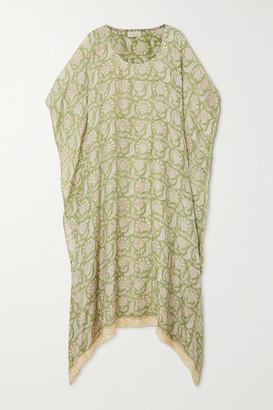 HANNAH ARTWEAR Net Sustain Shanti Crochet-trimmed Printed Silk Kaftan - Green