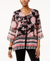 JM Collection Petite Printed Split-Front Tunic, Only at Macy's