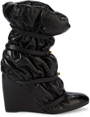 Stuart Weitzman Cinched Patent Leather & Shearling Wedge Boots