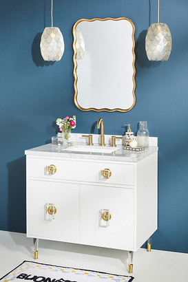 Lacquered Regency Single Bathroom Vanity By Tracey Boyd in Gold Size ALL