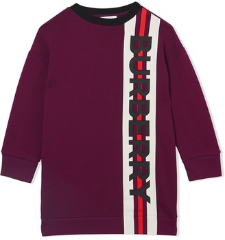 BURBERRY KIDS Logo Print Sweater Dress