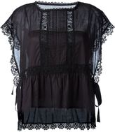 RED Valentino embroidered lace trim blouse - women - Cotton - 40