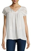 Joie Mancuso Crocheted Short-Sleeve Top