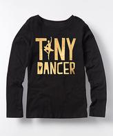 Black 'Tiny Dancer' Metallic Foil Long-Sleeve Tee - Girls