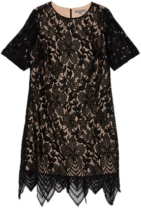 Sharagano Elbow Length Sleve Lace Scallop Hem Dress (Plus Size)