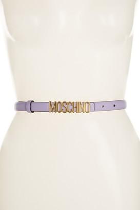 Moschino Thin Leather Logo Belt