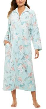 Miss Elaine Women's French Fleece Printed Long Zipper Robe
