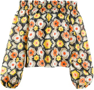 Temperley London Crochet-Print Off-Shoulder Blouse