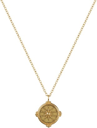 Florence London Life Compass Necklace Gold And Dusty Green