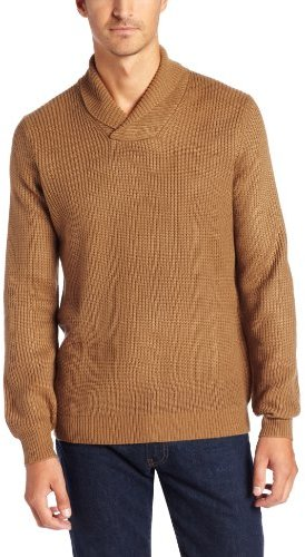 Geoffrey Beene Men's Shawl Collar Sweater with Elbow Patches