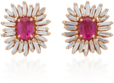 Suzanne Kalan One of a Kind 18K Rose Gold Ruby and Diamond Earrings