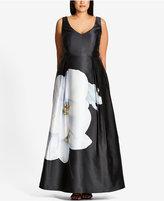 City Chic Trendy Plus Size Floral-Print Satin Gown