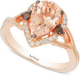 LeVian Le Vian Chocolatier Peach Morganite (1-1/3 ct. t.w.) and Diamond (1/5 ct. t.w.) Ring in 14k Rose Gold, Created for Macy's
