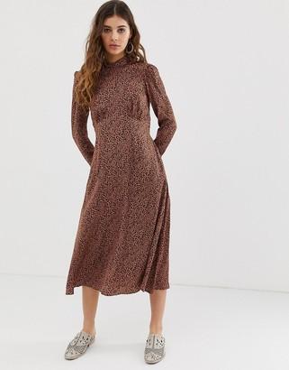 Free People Loveless leopard print midi dress-Brown