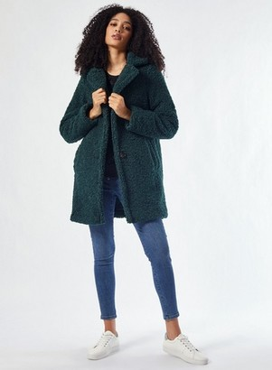 Dorothy Perkins Womens Green Long Teddy Coat, Green