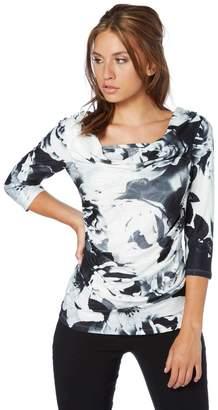M&Co Roman Originals blurred floral print cowl neck top