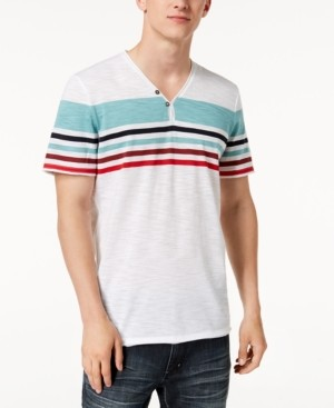 INC International Concepts Inc Men's Striped Split-Neck T-Shirt, Created for Macy's