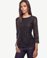 Ann Taylor Petite Lace Pleated Peplum Top