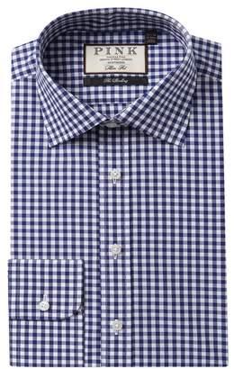 Thomas Pink Summer Slim Fit Checkered Dress Shirt