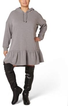 Ultra Flirt Juniors' Plus Size Fleece Hooded Dress