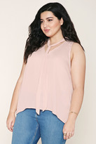 Forever 21 Plus Size Satin Tie Neck Top
