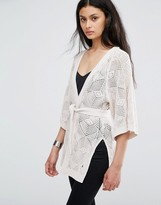 Only Loose Weave Longline Kimono Cardigan