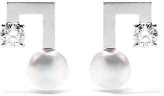 TASAKI 18kt white gold petit Balance Note Collection Line Akoya pearl and diamond stud earrings