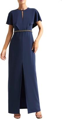 Halston Cape Sleeve Gown