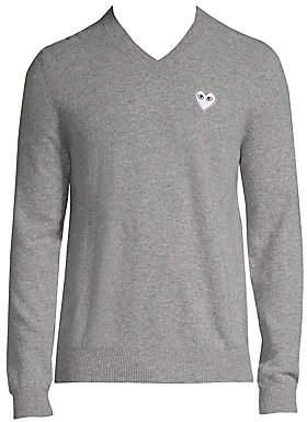 Comme des Garcons Men's White Heart V-Neck Sweater