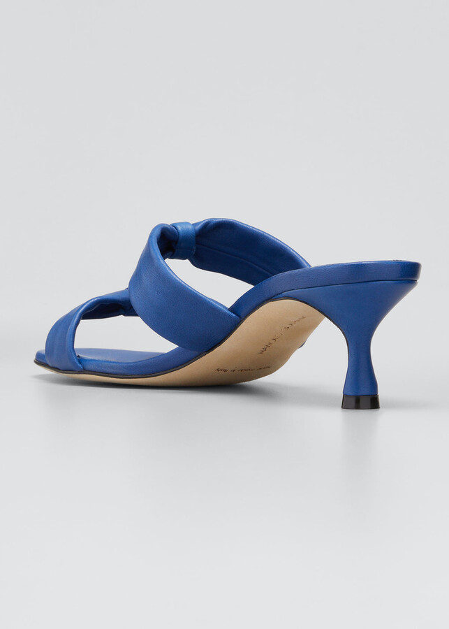 Thumbnail for your product : Manolo Blahnik Pallera Dual-Bow Slide Heel Sandals