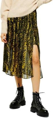Topshop Animal Print Pleated Chiffon Skirt