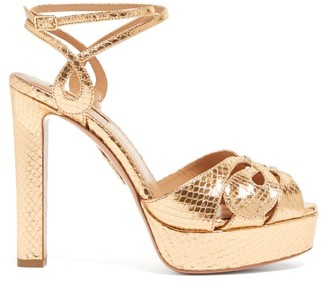 Aquazzura Gardena 120 Platform Metallic-leather Sandals - Womens - Gold
