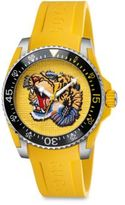 Gucci Dive Stainless Steel & Yellow Rubber Strap Watch