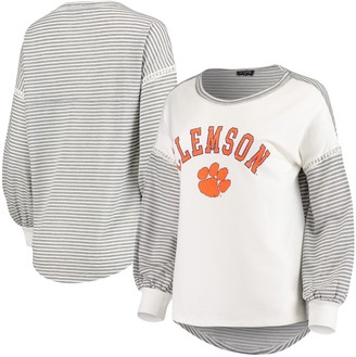 Women's White Clemson Tigers Line It Up Striped Bubble Long Sleeve T-Shirt