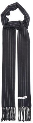 Acne Studios Vonnie Striped Wool Scarf - Navy White