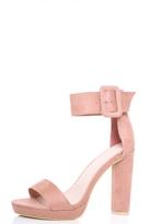 Quiz Pink Faux Suede Buckle Platform Heels