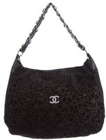 Chanel Camellias Suede Hobo