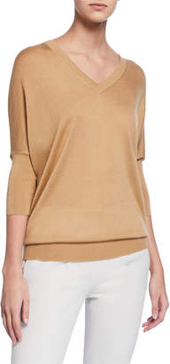 Derek Lam Enzyme Cashmere/Silk Batwing-Sleeve V-Neck Sweater