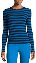 Michael Kors Striped Long-Sleeve Crewneck Sweater, Maritime/Wave