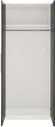 Messina 4 PieceGloss Package - 2 Door Mirrored Wardrobe, 5 Drawer Chest, 2Bedside Chests - White/Black
