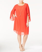 MSK Plus Size Flutter-Sleeve Shift Dress