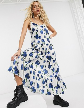 Topshop satin midi dress in ivory and blue floral